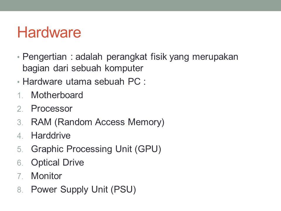 Hardware Pengertian : adalah perangkat fisik yang merupakan bagian dari sebuah komputer. Hardware utama sebuah PC :