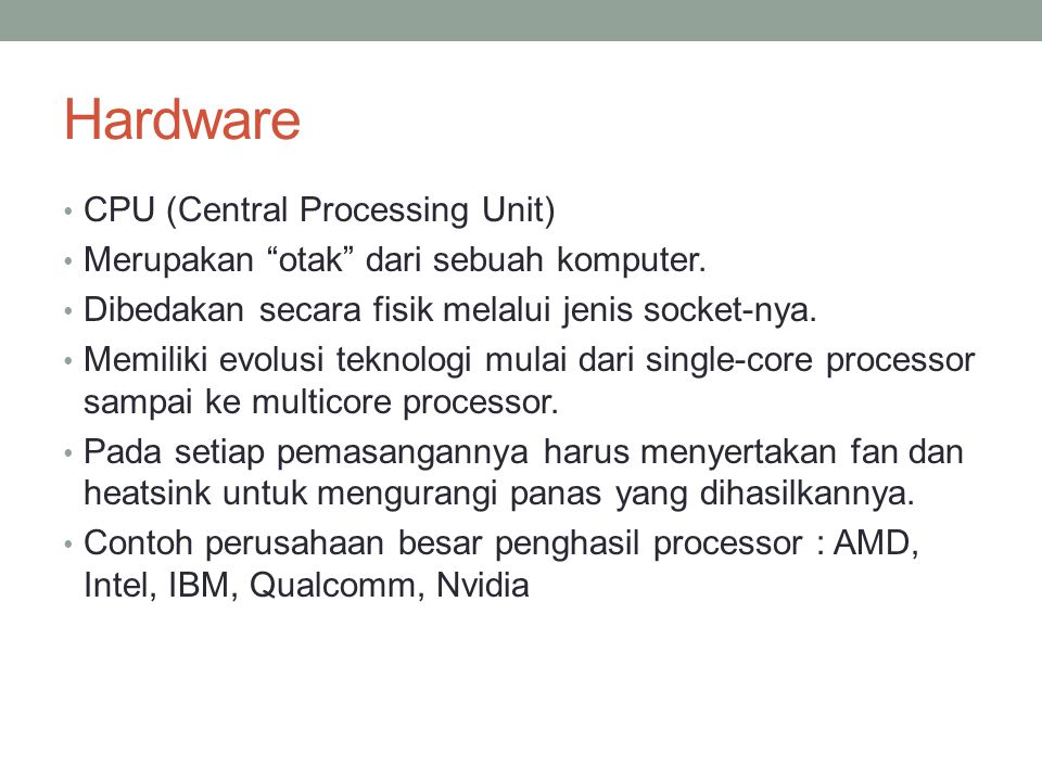 Hardware CPU (Central Processing Unit)