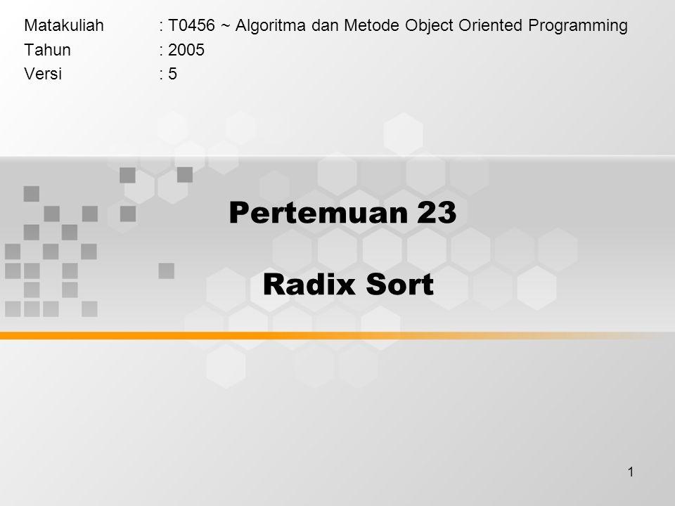 Matakuliah : T0456 ~ Algoritma dan Metode Object Oriented Programming