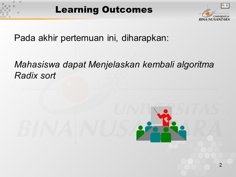 Learning Outcomes Pada akhir pertemuan ini, diharapkan: Mahasiswa dapat Menjelaskan kembali algoritma Radix sort.