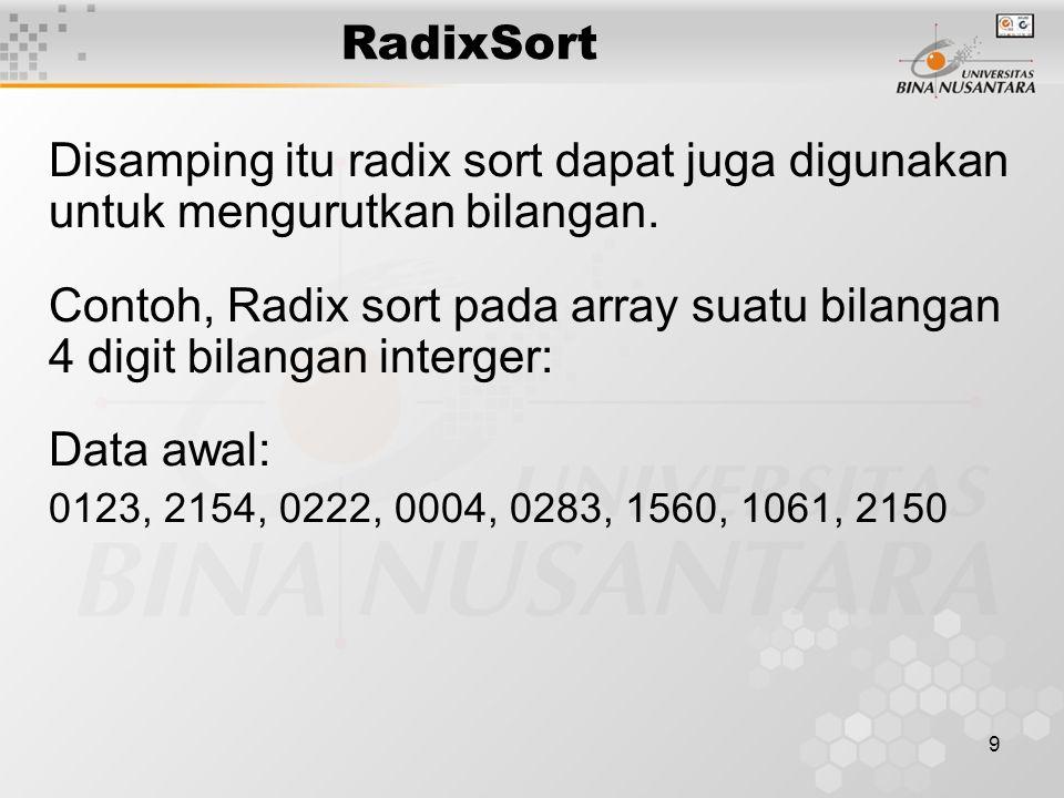 RadixSort Disamping itu radix sort dapat juga digunakan untuk mengurutkan bilangan.