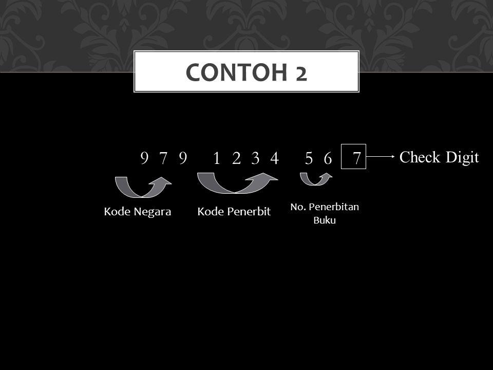 Contoh 2 9 7 9 1 2 3 4 5 6 7 Check Digit Kode Negara Kode Penerbit