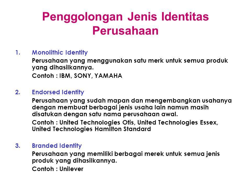 Penggolongan Jenis Identitas Perusahaan