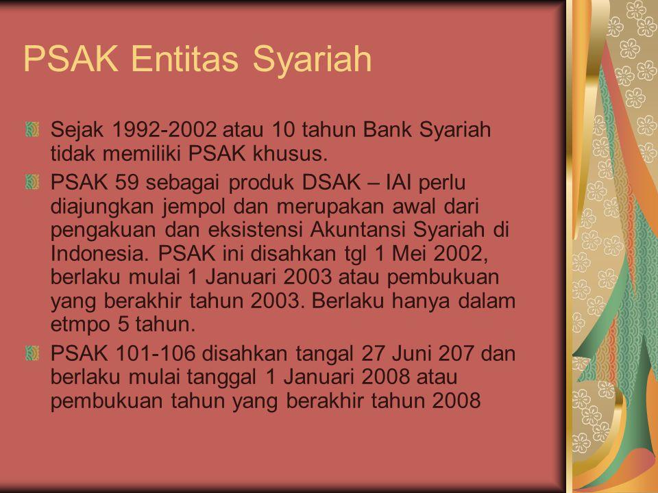 PSAK Entitas Syariah Sejak 1992-2002 atau 10 tahun Bank Syariah tidak memiliki PSAK khusus.