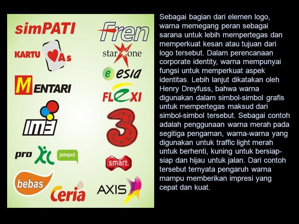 Sebagai bagian dari elemen logo, warna memegang peran sebagai sarana untuk lebih mempertegas dan memperkuat kesan atau tujuan dari logo tersebut.