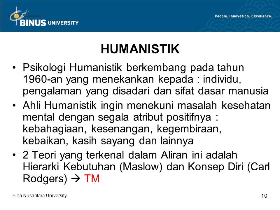 HUMANISTIK Psikologi Humanistik berkembang pada tahun 1960-an yang menekankan kepada : individu, pengalaman yang disadari dan sifat dasar manusia.
