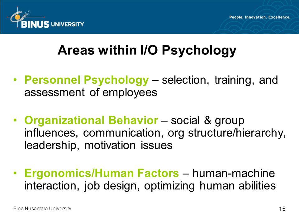 Areas within I/O Psychology