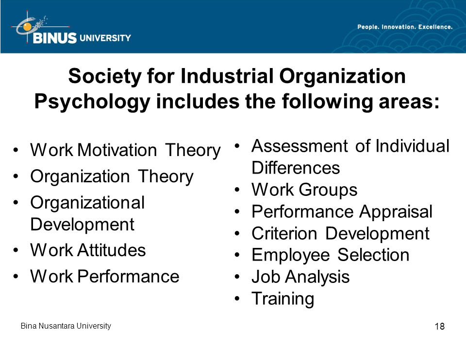 Society for Industrial Organization Psychology includes the following areas: