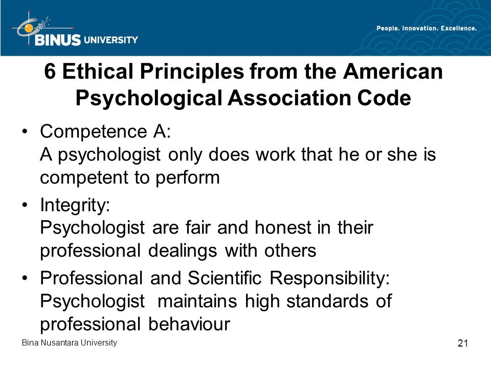6 Ethical Principles from the American Psychological Association Code