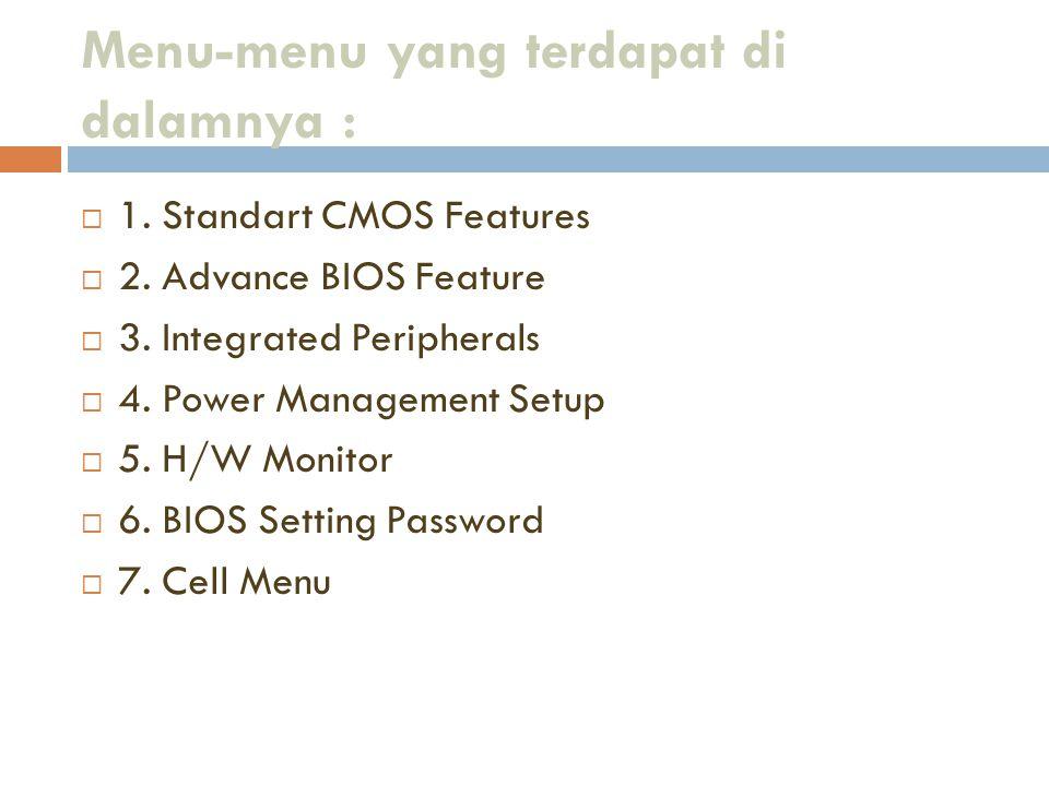 Menu-menu yang terdapat di dalamnya :