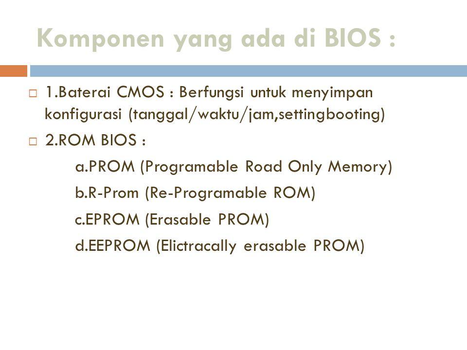 Komponen yang ada di BIOS :