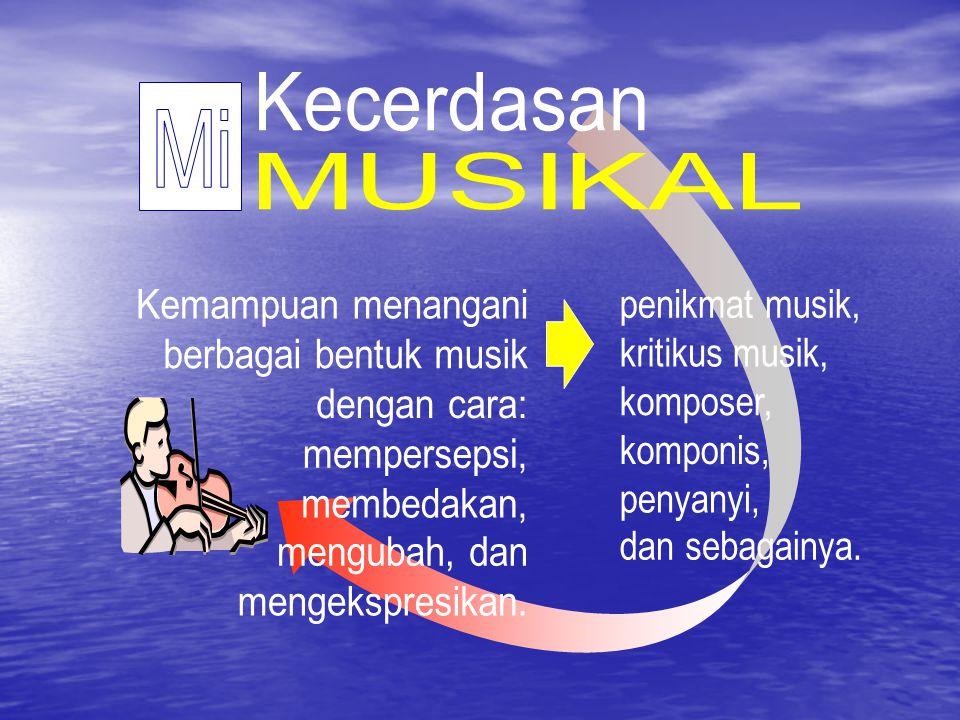 Kecerdasan Mi MUSIKAL Kemampuan menangani berbagai bentuk musik