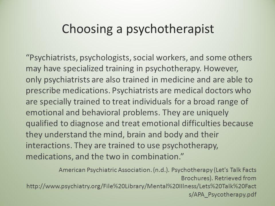 Choosing a psychotherapist