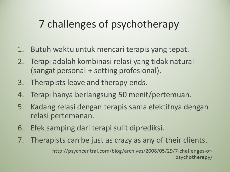 7 challenges of psychotherapy