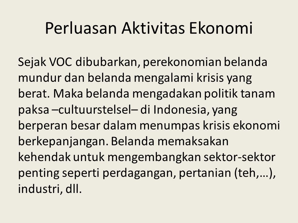 Perluasan Aktivitas Ekonomi