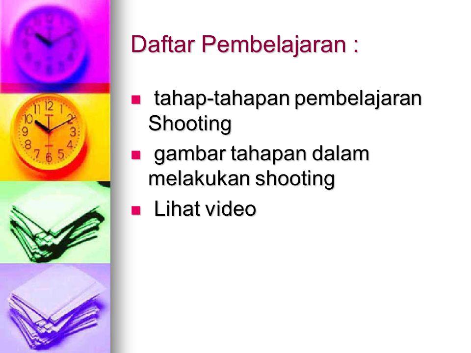 Daftar Pembelajaran : tahap-tahapan pembelajaran Shooting