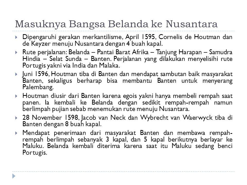 Masuknya Bangsa Belanda ke Nusantara