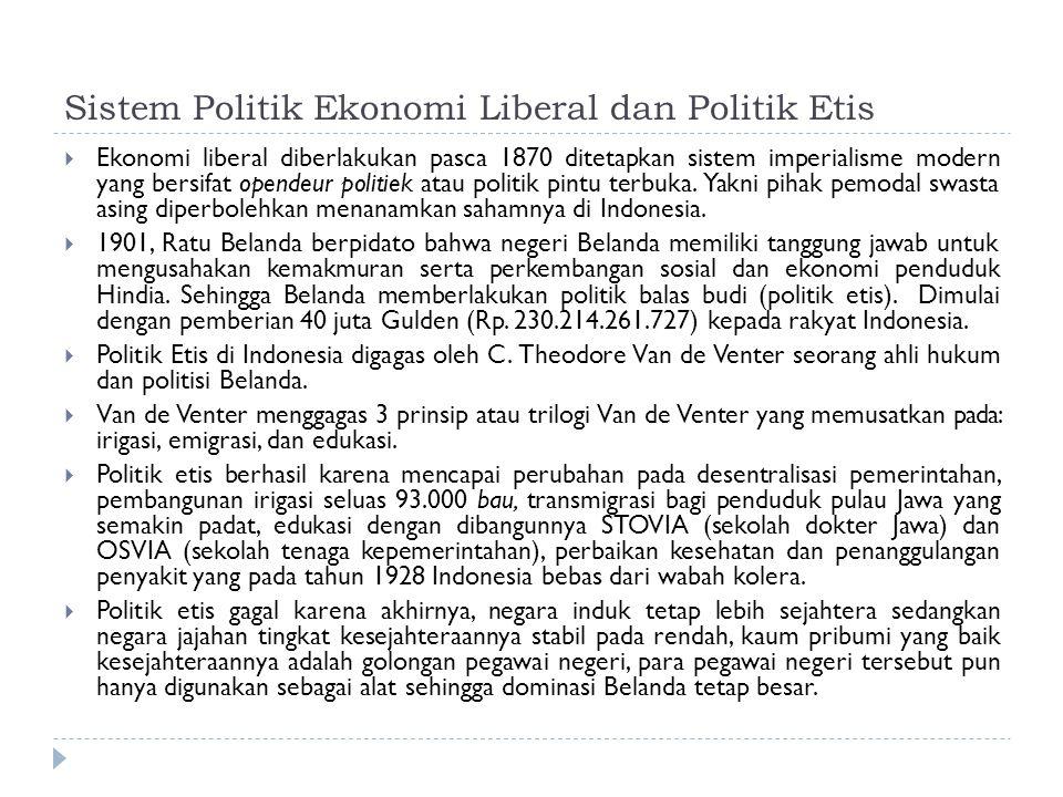 Sistem Politik Ekonomi Liberal dan Politik Etis