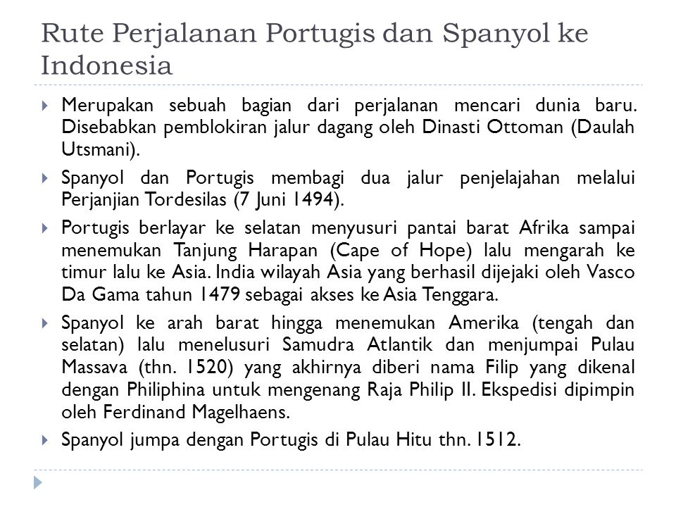 Rute Perjalanan Portugis dan Spanyol ke Indonesia