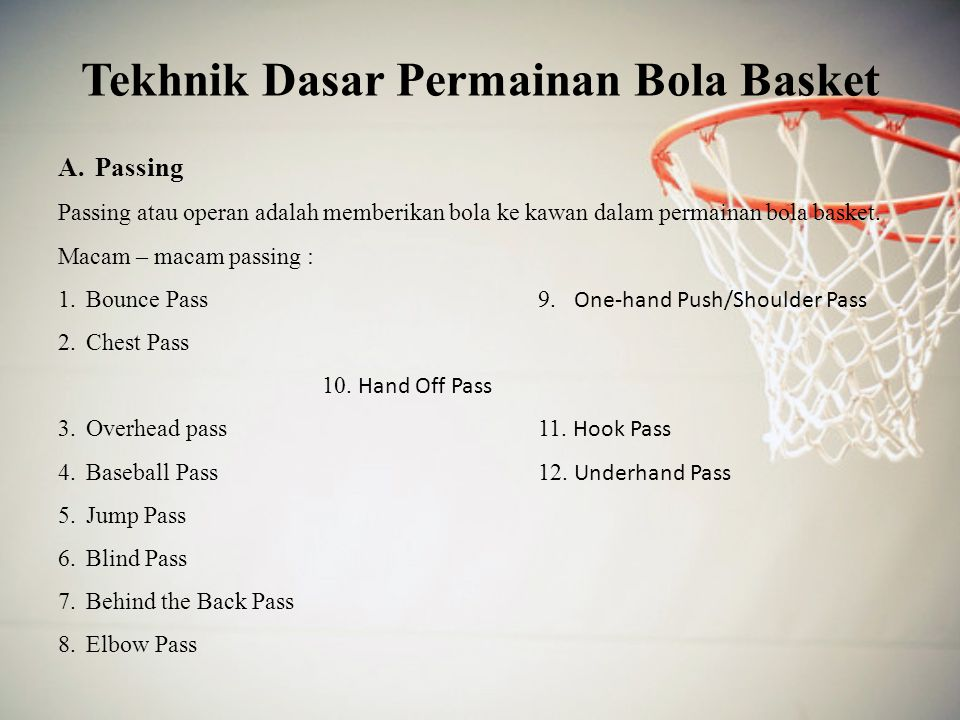 Tekhnik Dasar Permainan Bola Basket