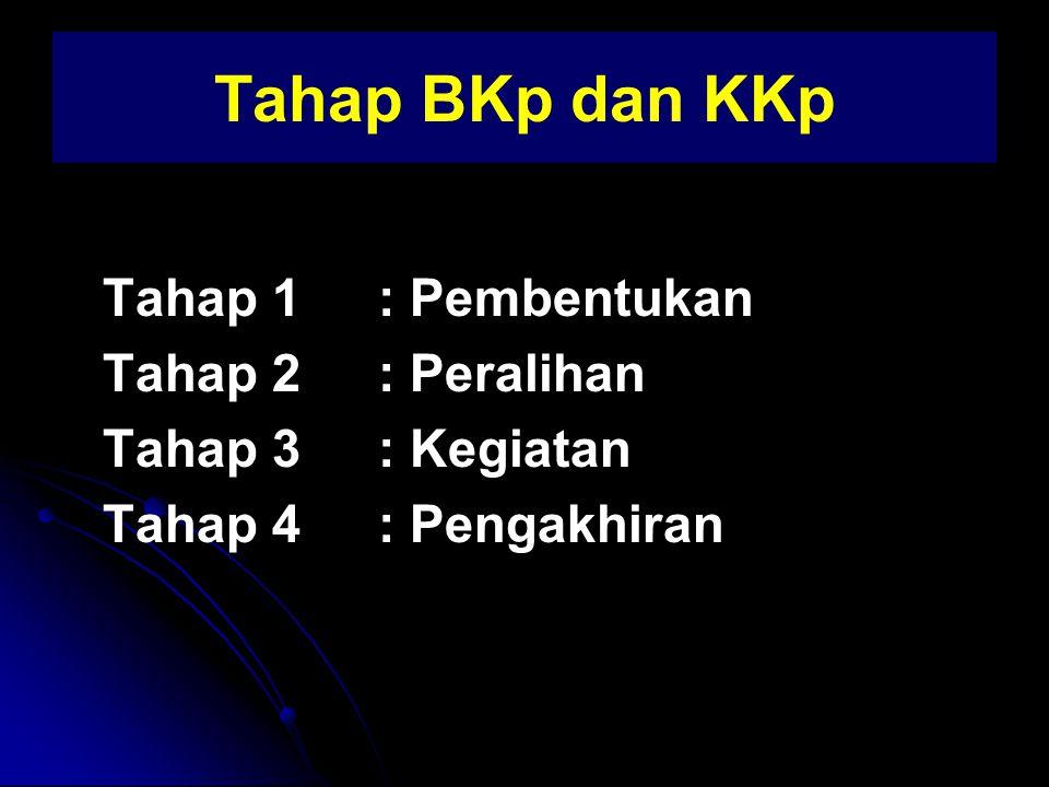 Tahap BKp dan KKp Tahap 1 : Pembentukan Tahap 2 : Peralihan