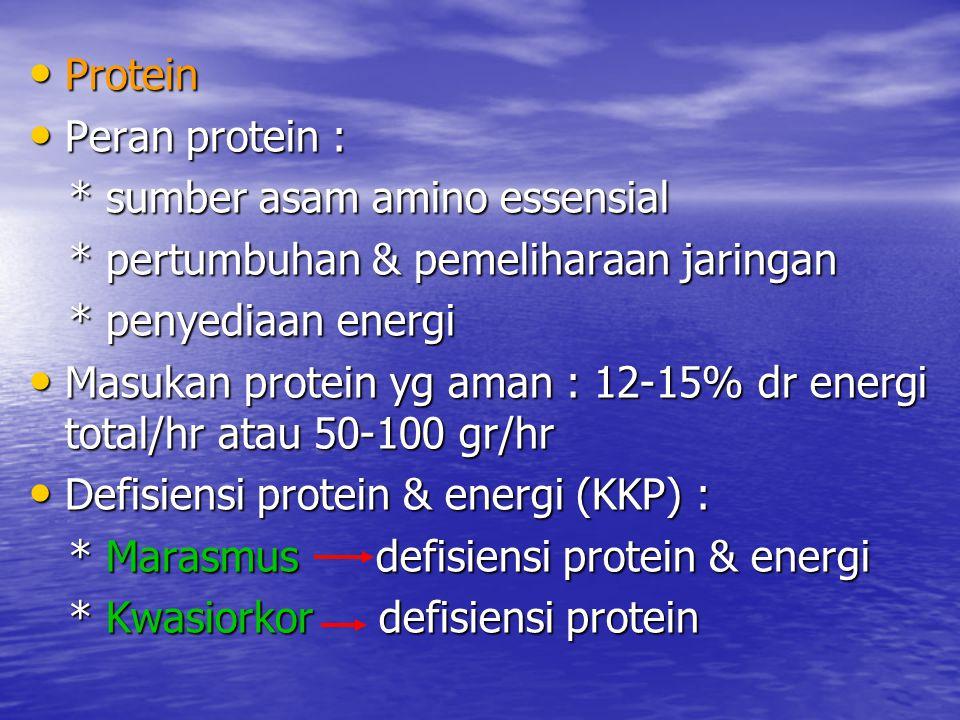 Protein Peran protein : * sumber asam amino essensial. * pertumbuhan & pemeliharaan jaringan. * penyediaan energi.