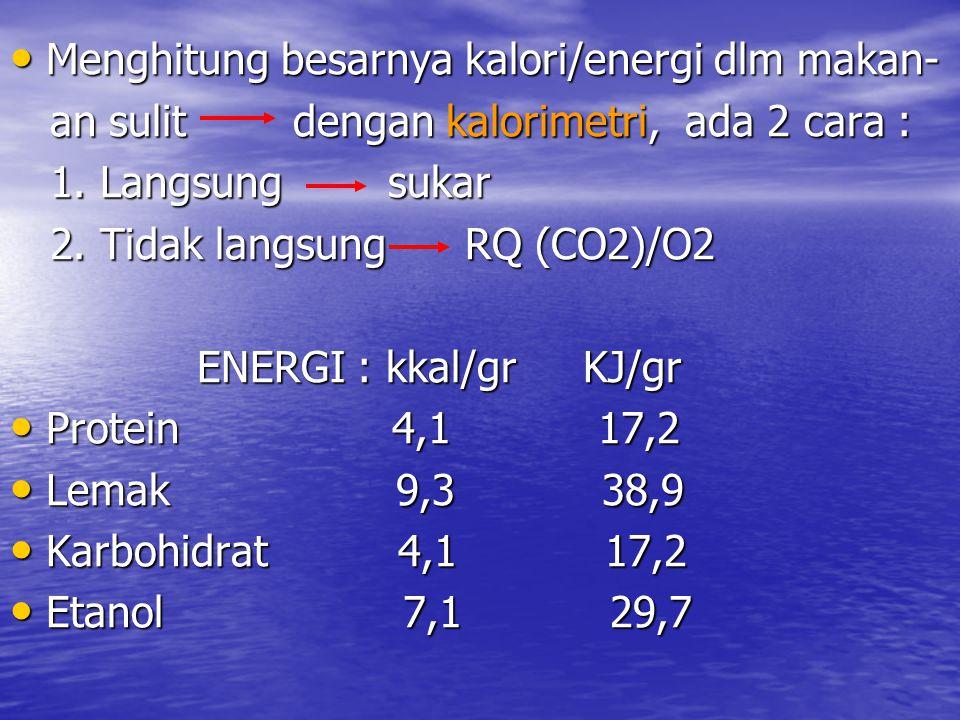 Menghitung besarnya kalori/energi dlm makan-