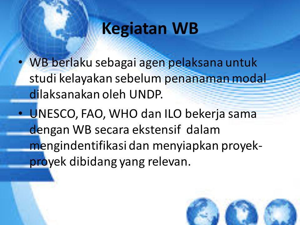 Kegiatan WB WB berlaku sebagai agen pelaksana untuk studi kelayakan sebelum penanaman modal dilaksanakan oleh UNDP.