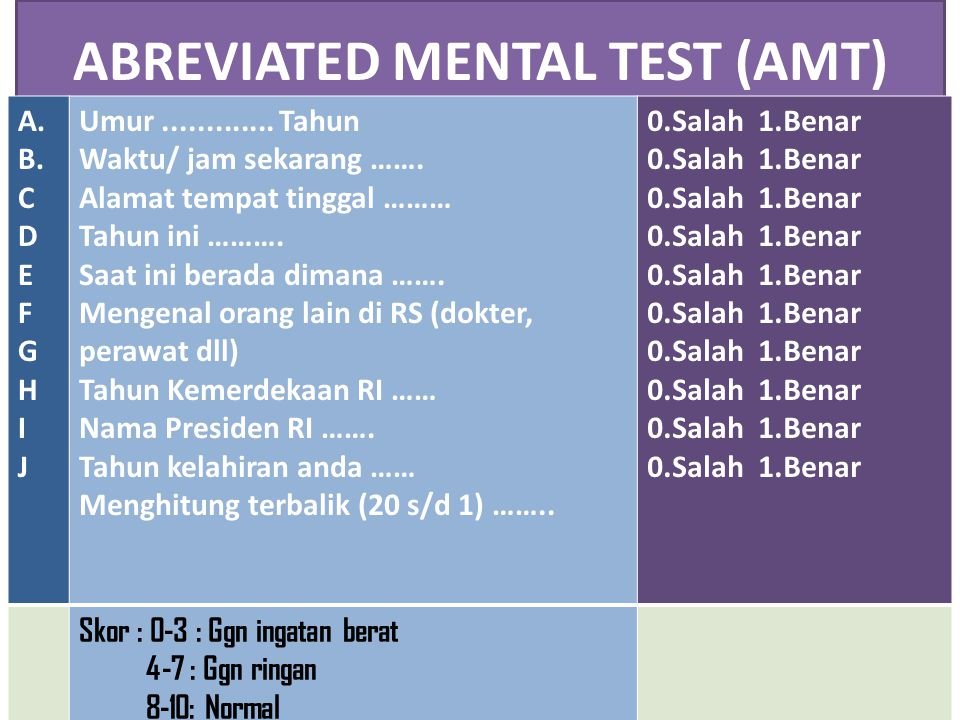 ABREVIATED MENTAL TEST (AMT)