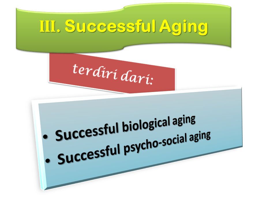 III. Successful Aging terdiri dari: Successful biological aging