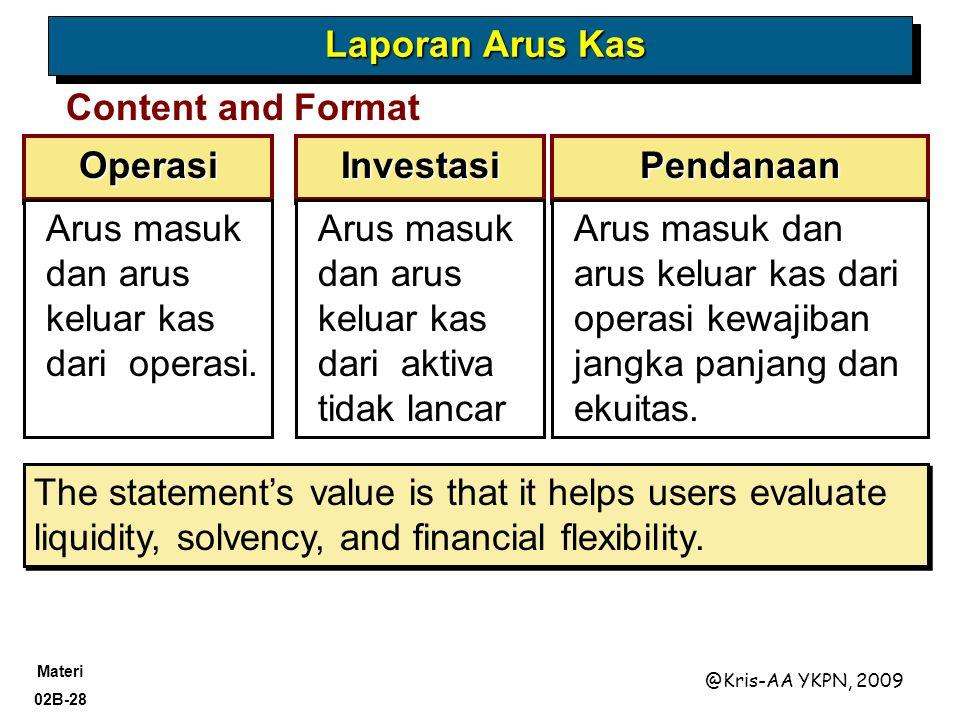 Laporan Arus Kas Content and Format. Operasi. Investasi. Pendanaan. Arus masuk dan arus keluar kas dari operasi.