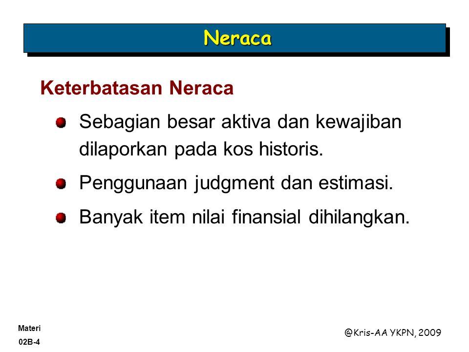 Neraca Keterbatasan Neraca. Sebagian besar aktiva dan kewajiban dilaporkan pada kos historis. Penggunaan judgment dan estimasi.