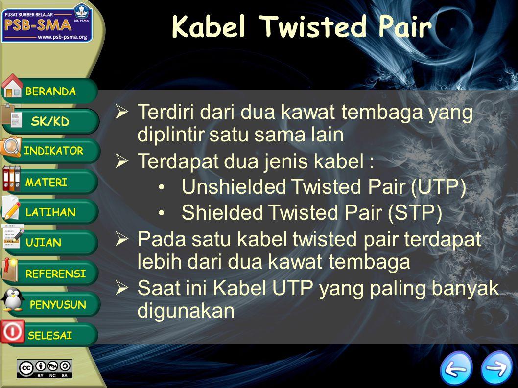 Kabel Twisted Pair Terdiri dari dua kawat tembaga yang diplintir satu sama lain. Terdapat dua jenis kabel :