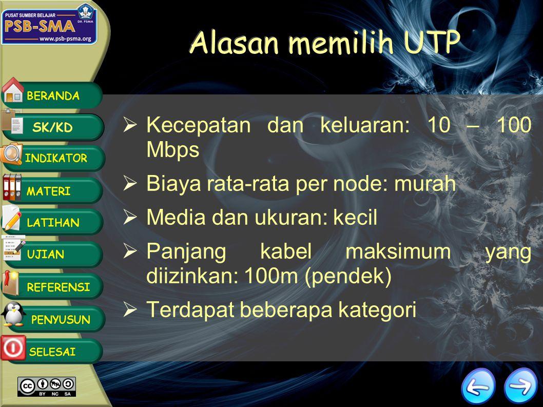 Alasan memilih UTP Kecepatan dan keluaran: 10 – 100 Mbps