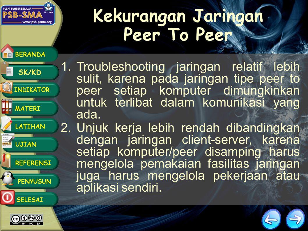 Kekurangan Jaringan Peer To Peer