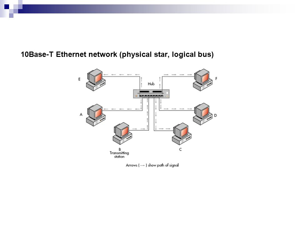 10Base-T Ethernet network (physical star, logical bus)
