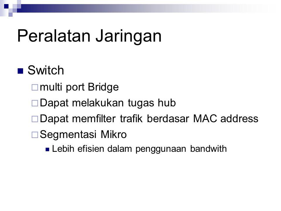 Peralatan Jaringan Switch multi port Bridge Dapat melakukan tugas hub
