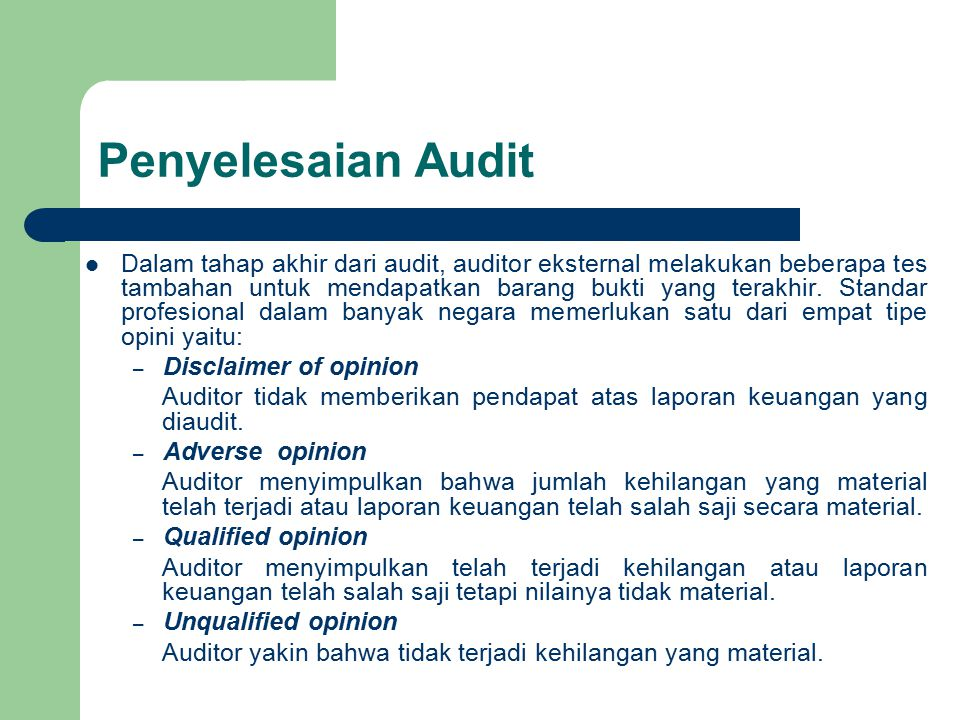 Penyelesaian Audit