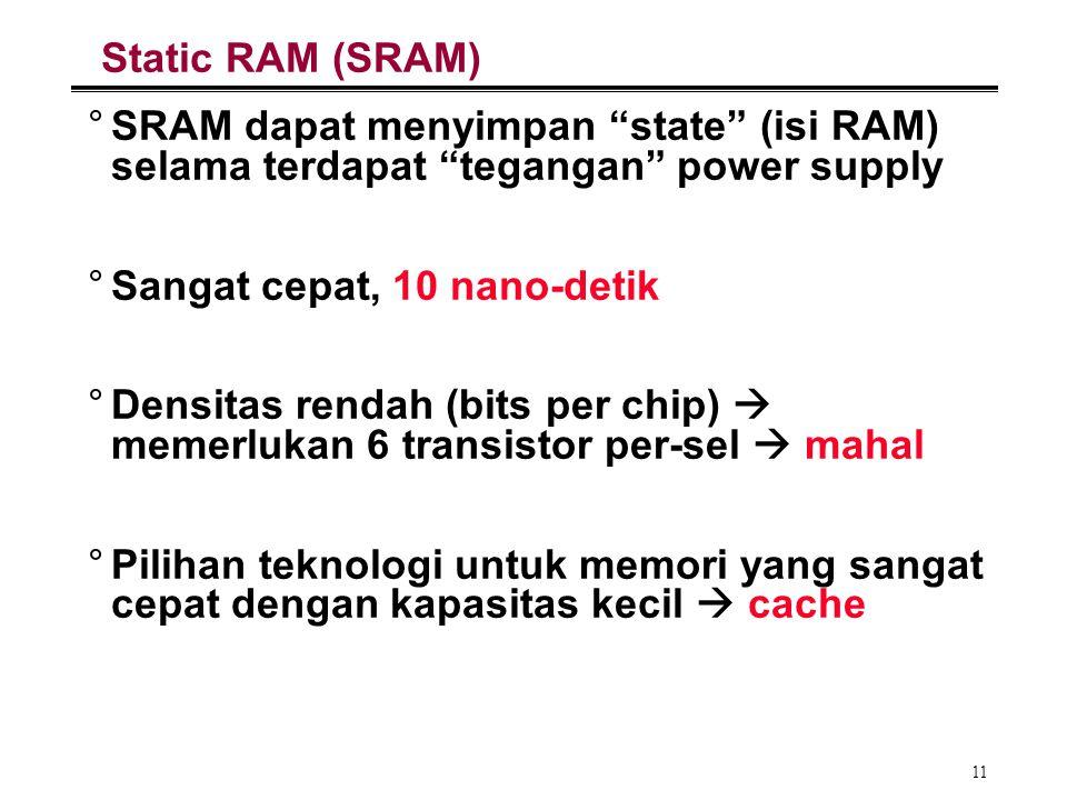 Static RAM (SRAM) SRAM dapat menyimpan state (isi RAM) selama terdapat tegangan power supply. Sangat cepat, 10 nano-detik.