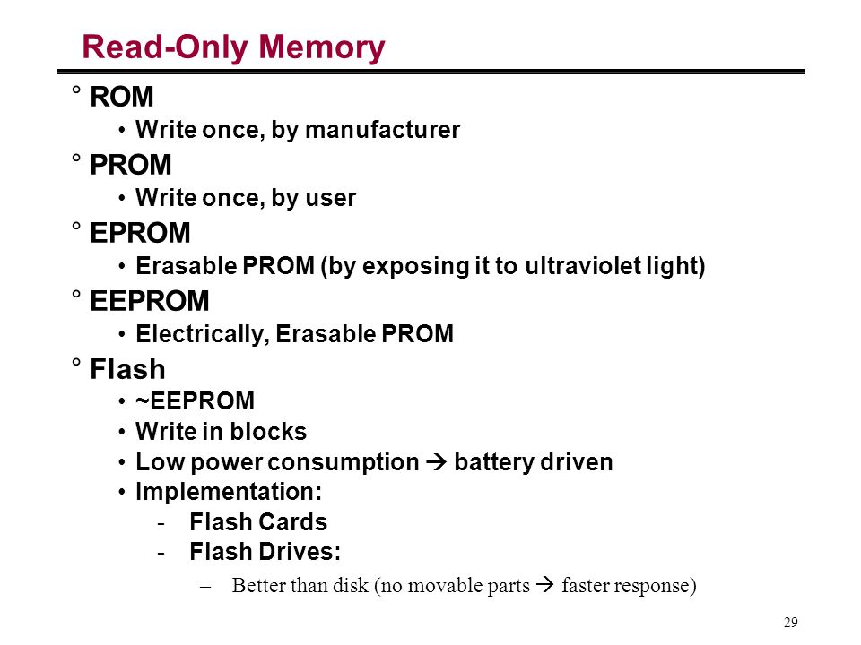 Read-Only Memory ROM PROM EPROM EEPROM Flash