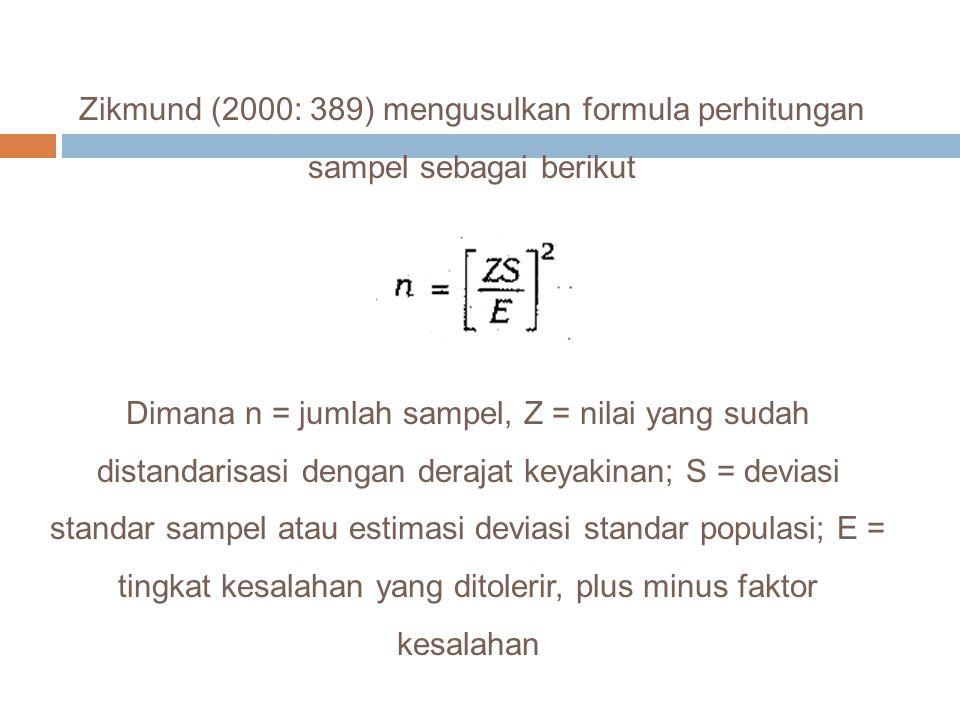 Zikmund (2000: 389) mengusulkan formula perhitungan sampel sebagai berikut