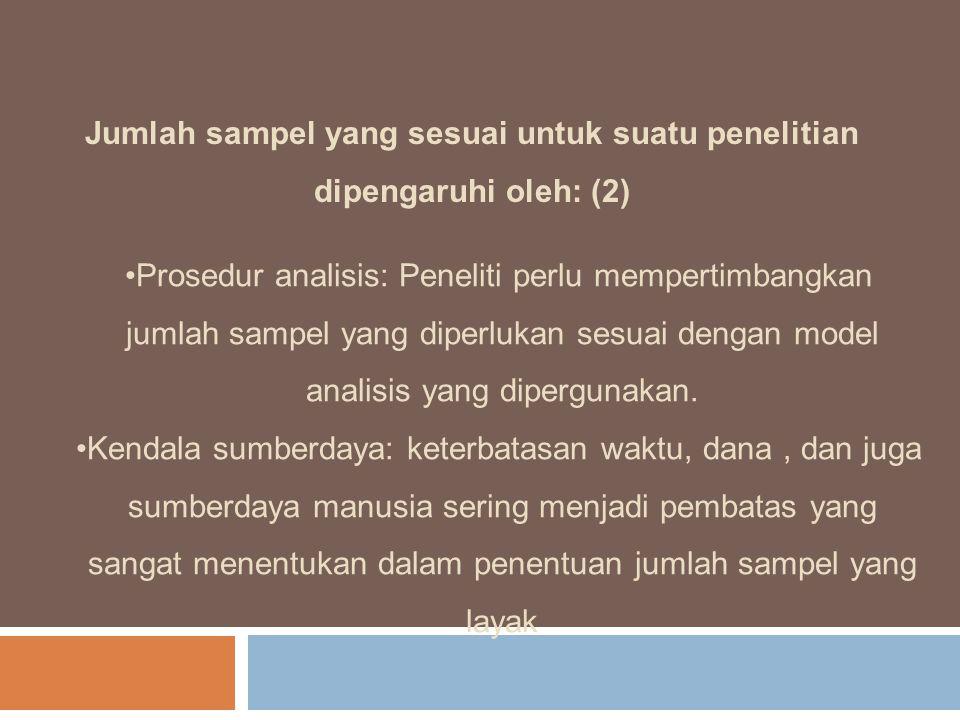Jumlah sampel yang sesuai untuk suatu penelitian dipengaruhi oleh: (2)