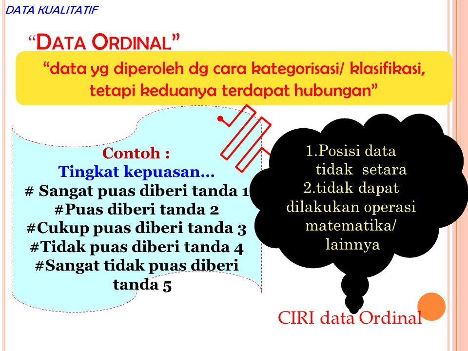 DATA KUALITATIF Data Ordinal data yg diperoleh dg cara kategorisasi/ klasifikasi, tetapi keduanya terdapat hubungan