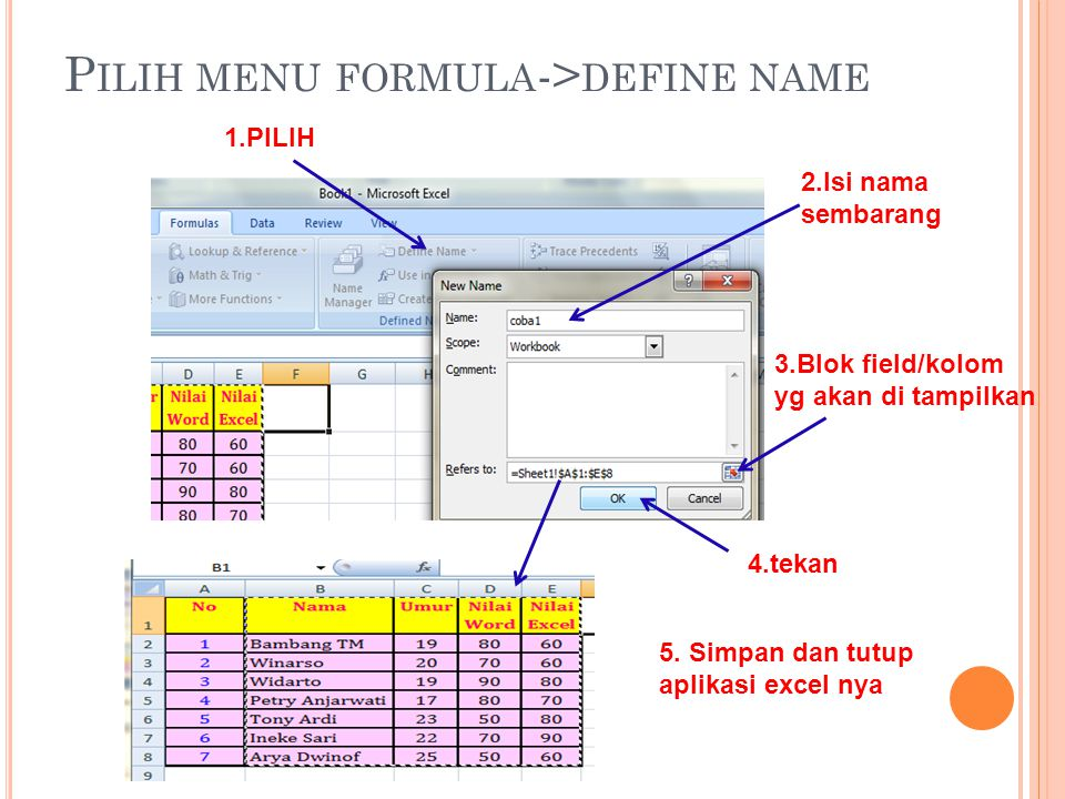 Pilih menu formula->define name