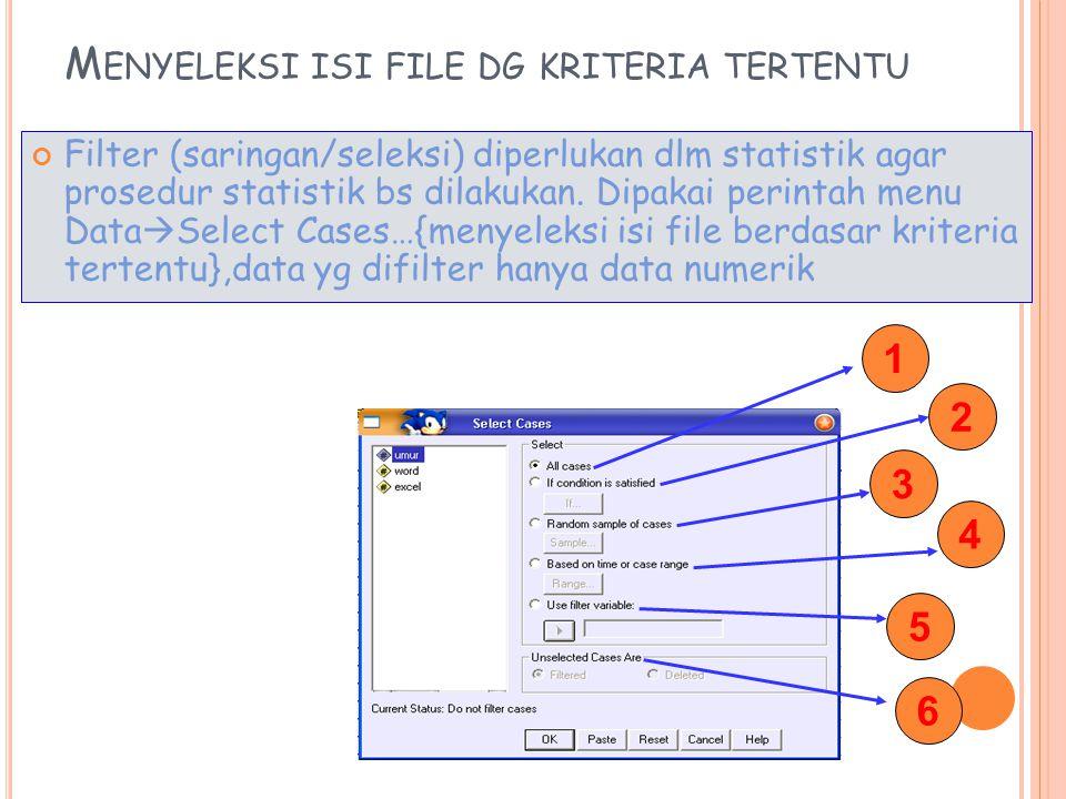 Menyeleksi isi file dg kriteria tertentu