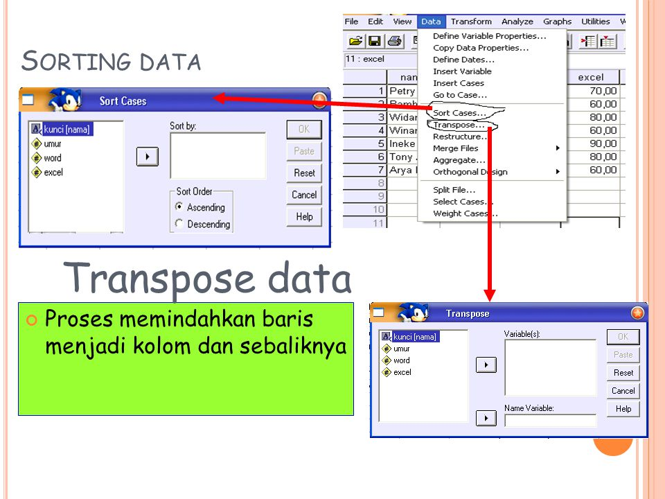 Transpose data Sorting data