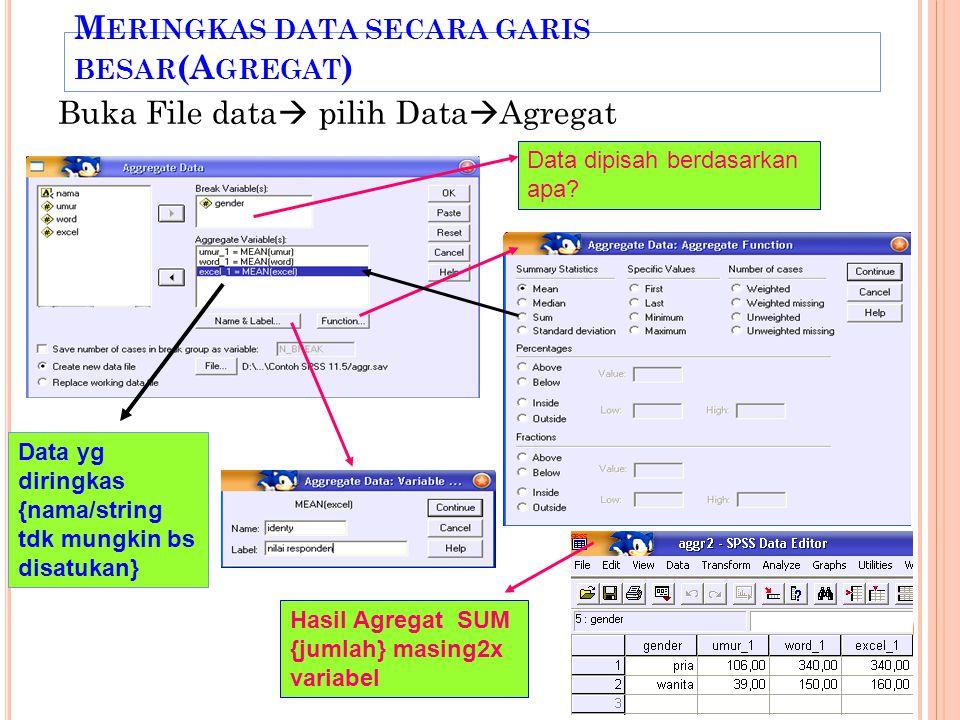 Meringkas data secara garis besar(Agregat)