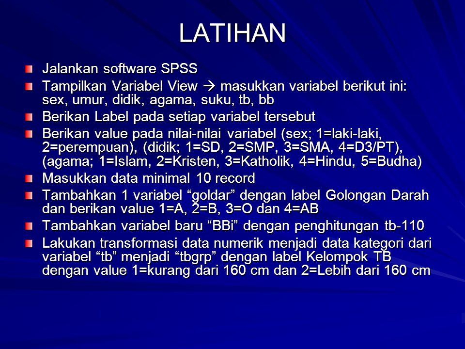LATIHAN Jalankan software SPSS