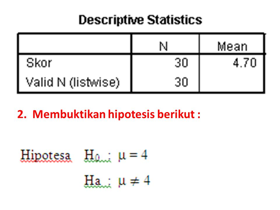 2. Membuktikan hipotesis berikut :