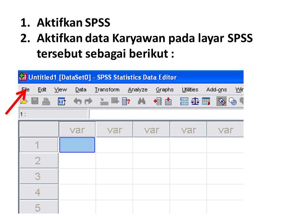 Aktifkan SPSS Aktifkan data Karyawan pada layar SPSS tersebut sebagai berikut :